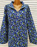 Теплый фланелевый халат 60 размер Васильки, фото 9