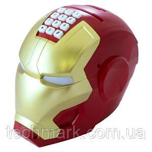 """Копилка-сейф детская электронная с кодовым замком и купюроприемником  iron man """"шлем железного человека"""""""