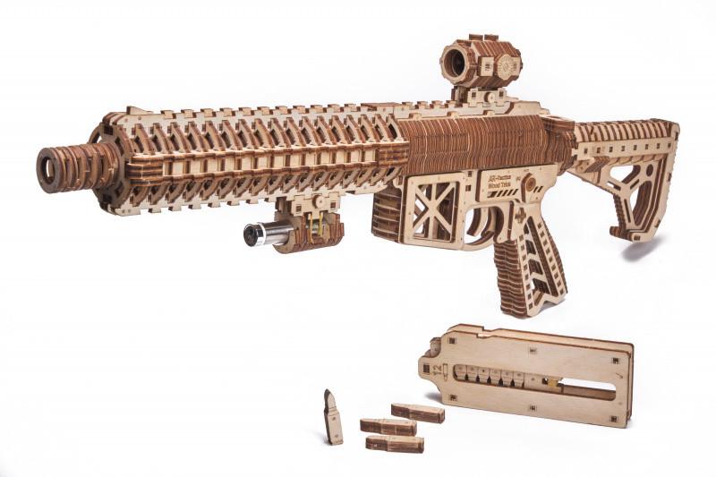 Штурмовая винтовка AR-T Wood Trick (496 деталей) - механический деревянный 3д пазл конструктор