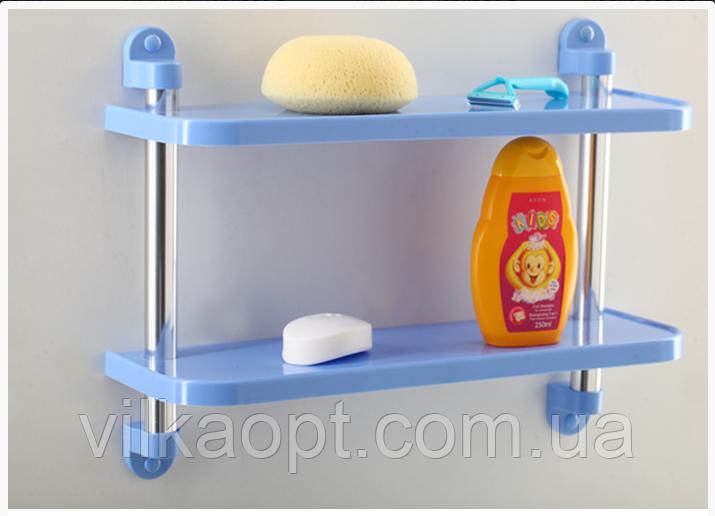 Полку (етажерка) для ванної кімнати, пряма, пластмасова Tombo 2 ярусу. Полиці і етажерки для ванних кімнат