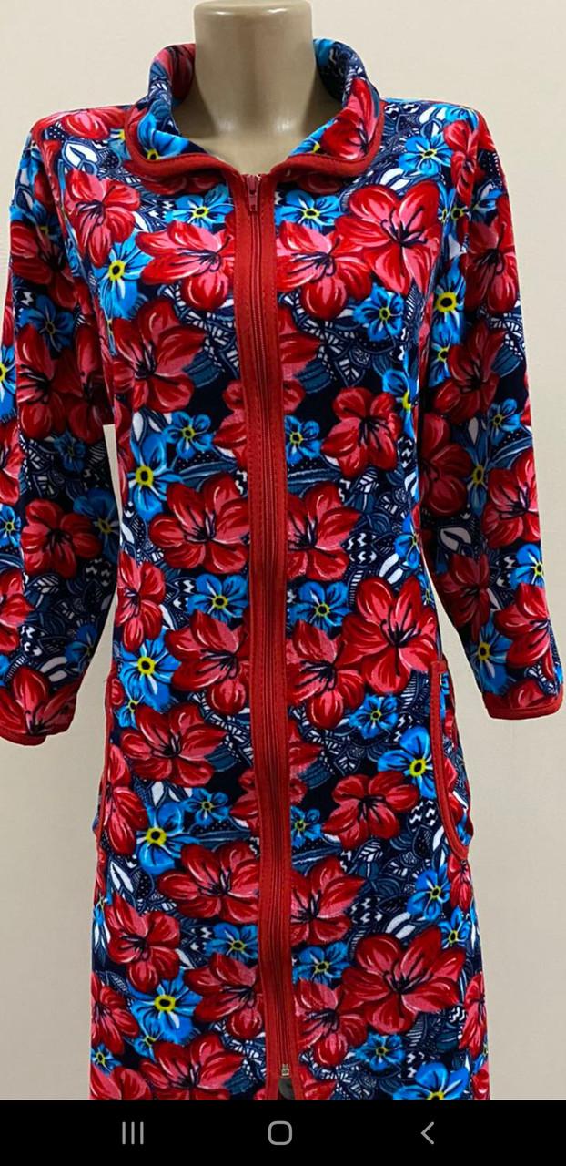 Халат велюровый Красные цветы 60 размер