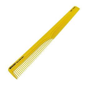 Парикмахерская расческа для стрижки волос SWAY Yellow Comb Ion+ 007, комбинированная скошенная