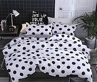 Полуторный черно-белый комплект постельного белья из Ранфорса в горошек