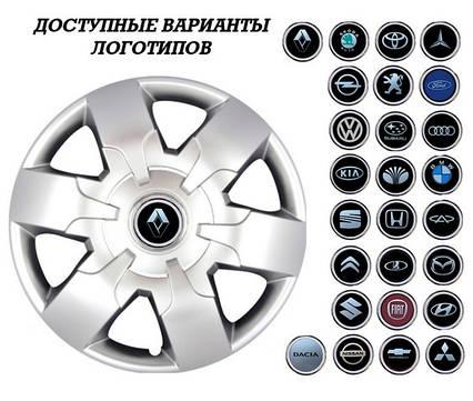 """Колпаки SJS (Турция), 16"""" 413 Renault (к-т 4 шт) + эмблема на выбор"""