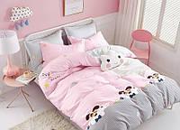 Полуторный розовый комплект постельного белья из Ранфорса