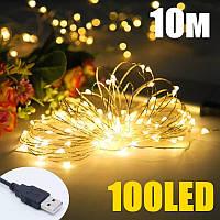 Гірлянда USB GOLD warm white (теплий білий), 10 метрів 100 SMD LED, ГАРАНТІЯ!