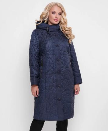 Женское стеганое пальто  ниже колена на осень,  цвет синий, большого размера от 50 до 62
