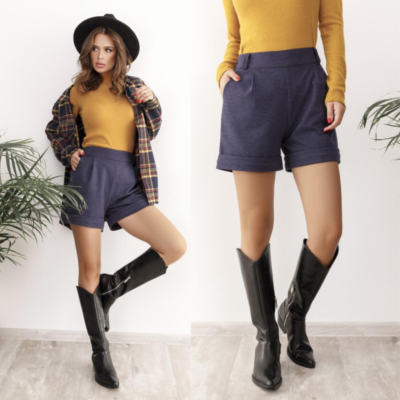Теплые женские шорты из кашемира 35-367