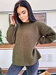 В'язаний светр стільники оверсайз з напівшерсті в кольорах (розмір 42-44) 404944, фото 3
