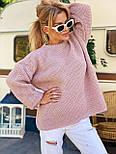 В'язаний светр стільники оверсайз з напівшерсті в кольорах (розмір 42-44) 404944, фото 2