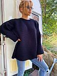 В'язаний светр стільники оверсайз з напівшерсті в кольорах (розмір 42-44) 404944, фото 4