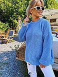 В'язаний светр стільники оверсайз з напівшерсті в кольорах (розмір 42-44) 404944, фото 5