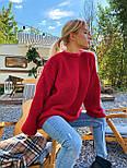 В'язаний светр стільники оверсайз з напівшерсті в кольорах (розмір 42-44) 404944, фото 6