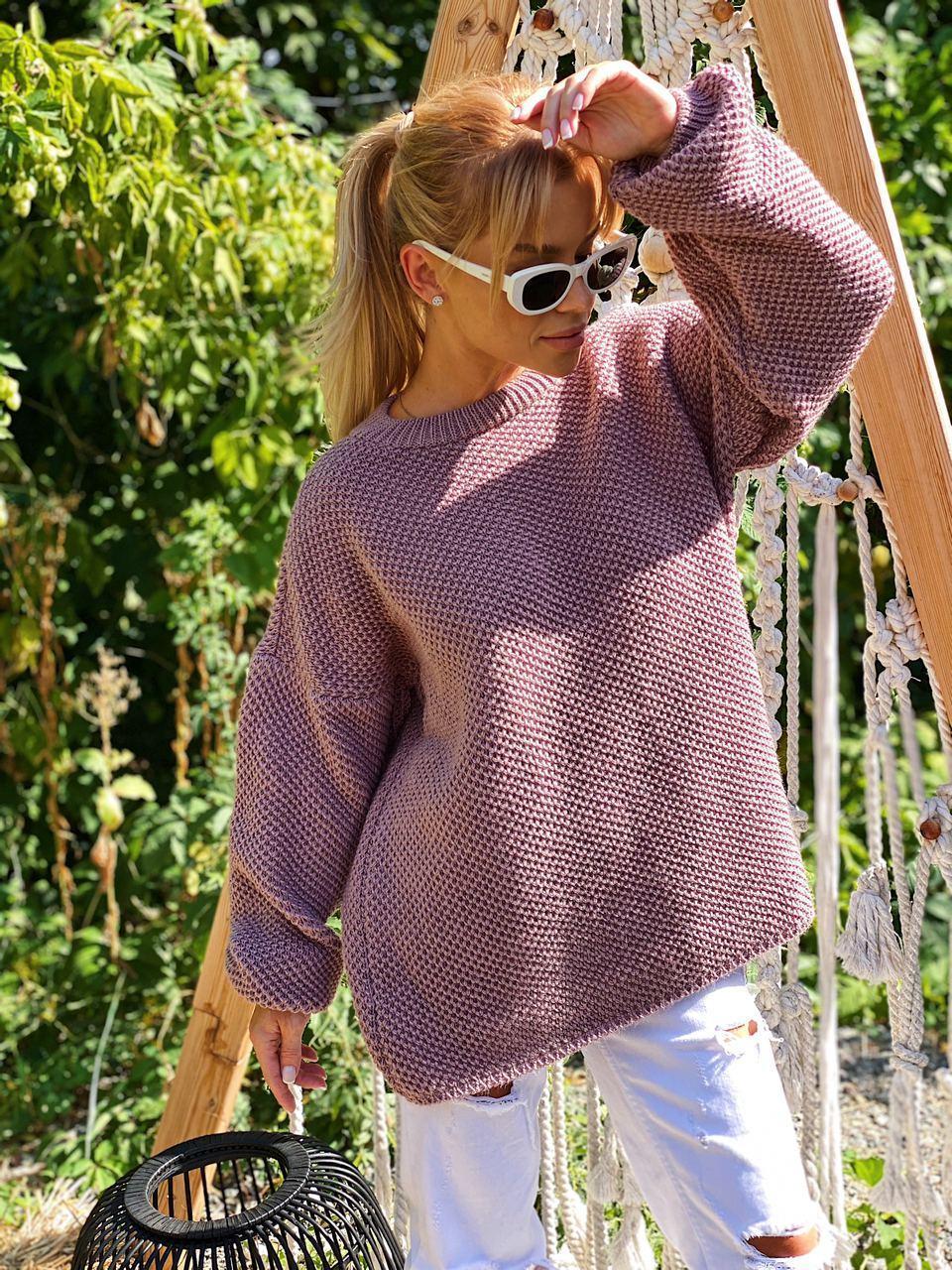 В'язаний светр стільники оверсайз з напівшерсті в кольорах (розмір 42-44) 404944