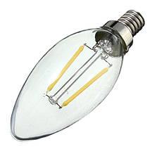 Лампа светодиодная filament 2W, C35 свеча E14  3000K 220-240V