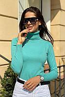 Жіноча водолазка з коміром з відворотом ментолового кольору. Модель 27749, фото 1