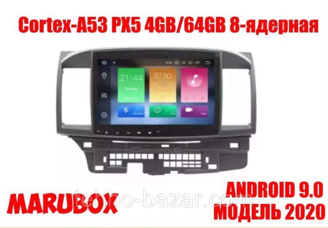 Штатна магнітола Marubox 10A716PX5 Mitsubishi Lancer 2006-2015 4gb/32gb 8-ядерна PX5 Android 8.0