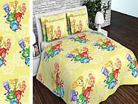 Детский постельный комплект полуторный-Фиксики на салатовом фоне