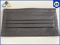 Маски медицинские черные 25 шт. одноразовые трехслойные защитные для лица на резинке с фиксатором