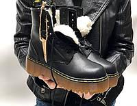 Ботинки женские Dr.Martens JADON зимние черные Доктор Мартинс Жадон, натуральная кожа, овчина. код KD-11963