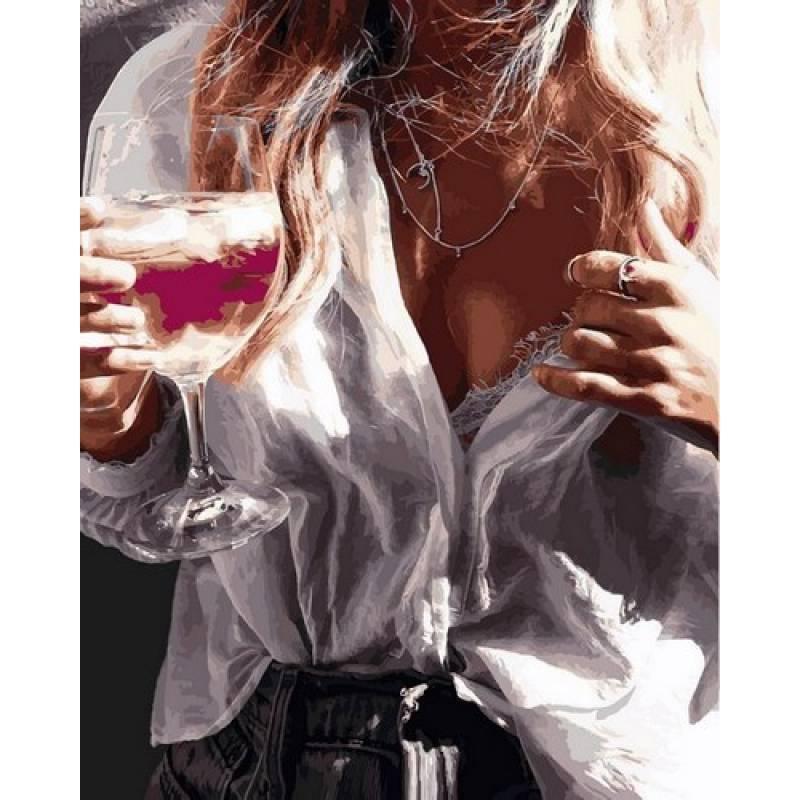 Картина по номерах Babylon Незнакомка с бокалом шампанского 40х50см VP1096 набір для розпису по номерах в коробці набір для розпису, фарби та пензлі