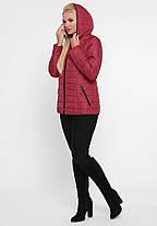 Оригинальная короткая куртка плащевка на утеплителе, цвет вишня, большого размера от 50 до 58, фото 3