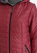 Оригинальная короткая куртка плащевка на утеплителе, цвет вишня, большого размера от 50 до 58, фото 2