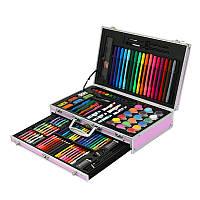 Детский набор для творчества и рисования Artmix в алюминиевом кейсе на 123 предмета Розовый (asw06)