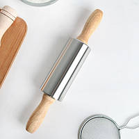 Скалка Ø5*38 см с вращающимся валиком из нержавеющей стали и деревянными ручками