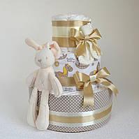 """Подарок-торт из памперсов подгузников """"Зая"""" 60 шт."""
