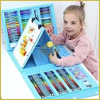 208 предметов! Голубой художественный набор с мольбертом для детского творчества в чемодане!