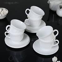 Стеклокерамический чайный белый сервиз Luminarc Trianon 6х220 мл (E8845)