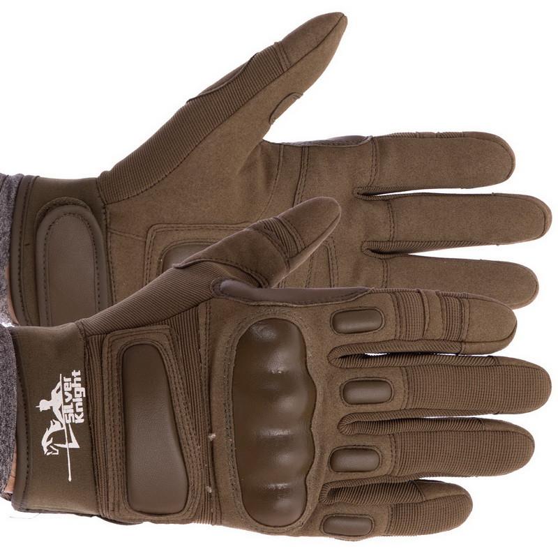 Перчатки тактические с закрытыми пальцами SILVER KNIGHT оливковые BC-7052