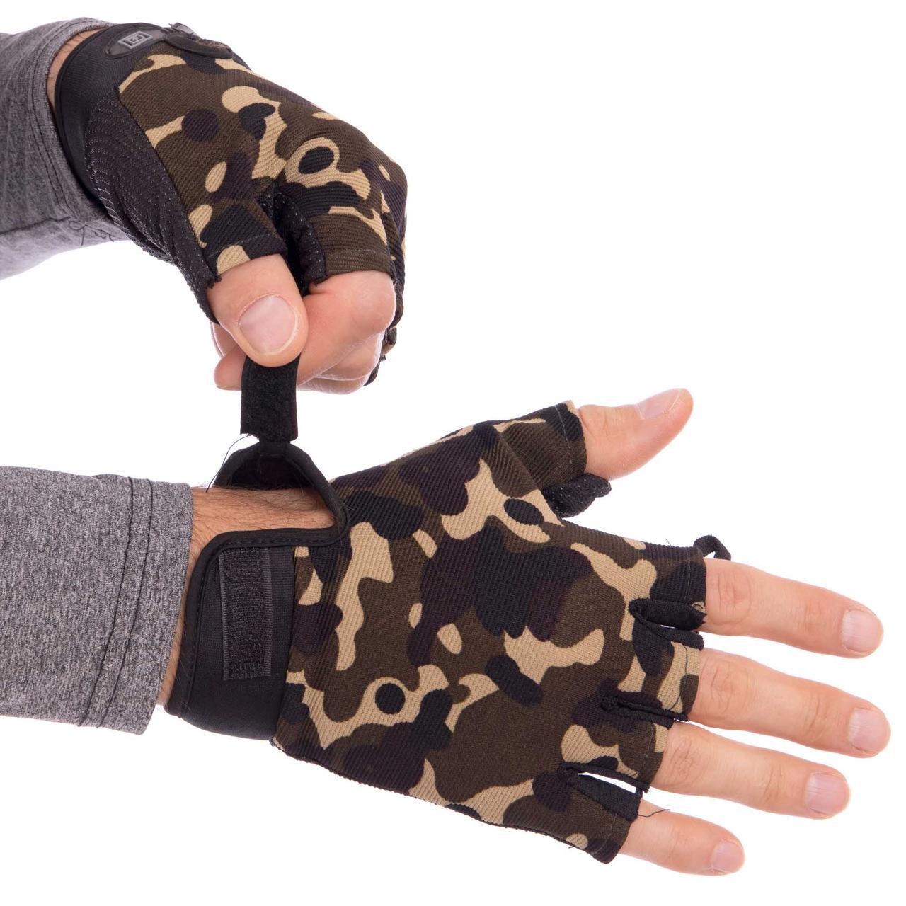 Перчатки тактические с открытыми пальцами 5.11 камуфляж BC-4379