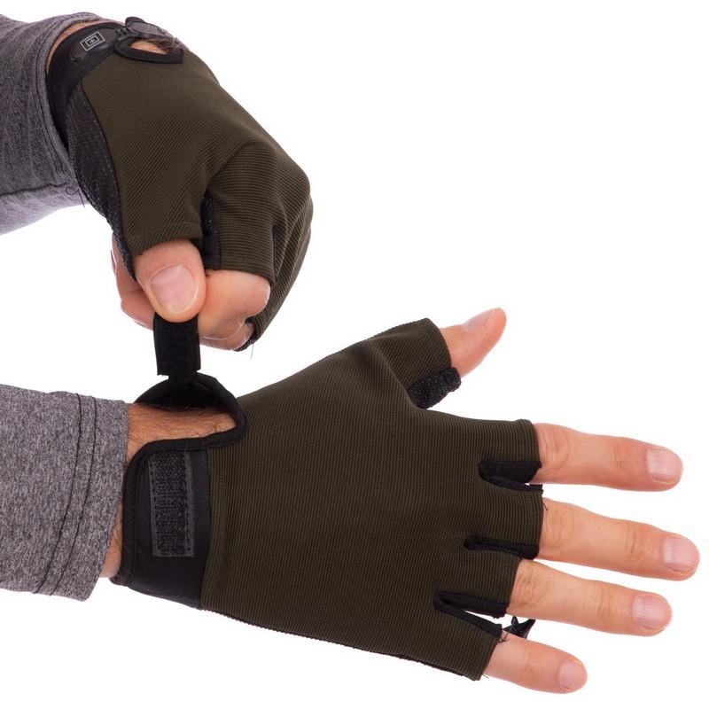 Перчатки тактические с открытыми пальцами 5.11 оливковые BC-4379