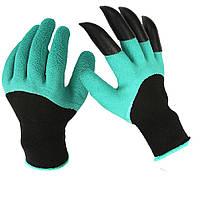 Садовые перчатки Garden Gloves с пластиковыми наконечниками Черно-зеленый (R0173)