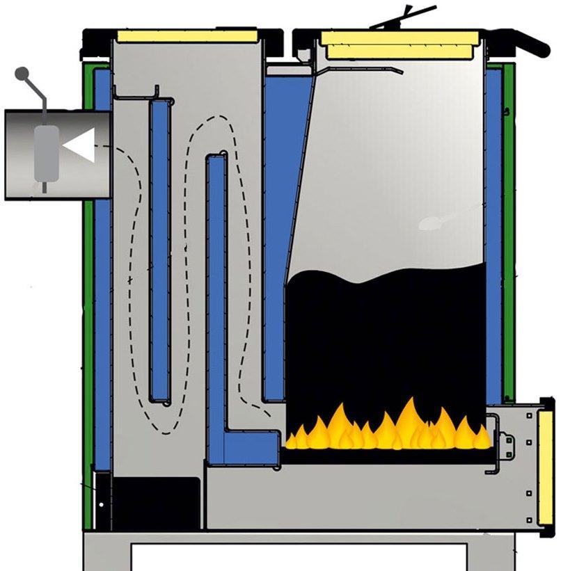 Твердопаливний котел тривалого горіння шахтного типу Макситерм Шахта Класик NEW 10 (3 мм)