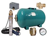 Погружной глубинный насос для скважин центробежный 4SKM-100 WATERS (бак,монометр,пятерник,клапан,реле)