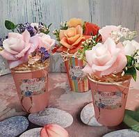 Мыло ручной работы букет розы в крафтовом стакане, фото 1