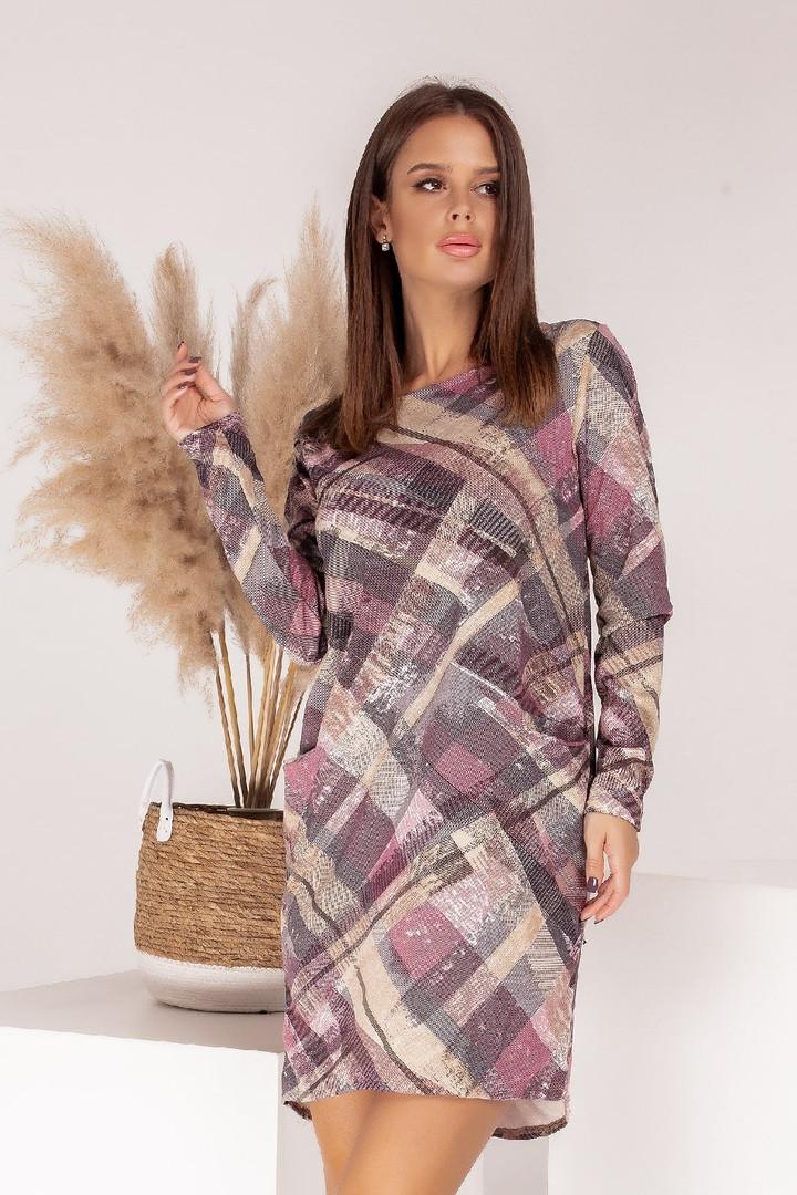 Женское платье, турецкий трикотаж, р-р универсальный 42-46 (розовый)