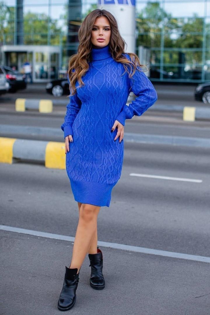 Женское платье, 70% акрил + 30% шерсть, р-р универсальный 42-46 (электрик)