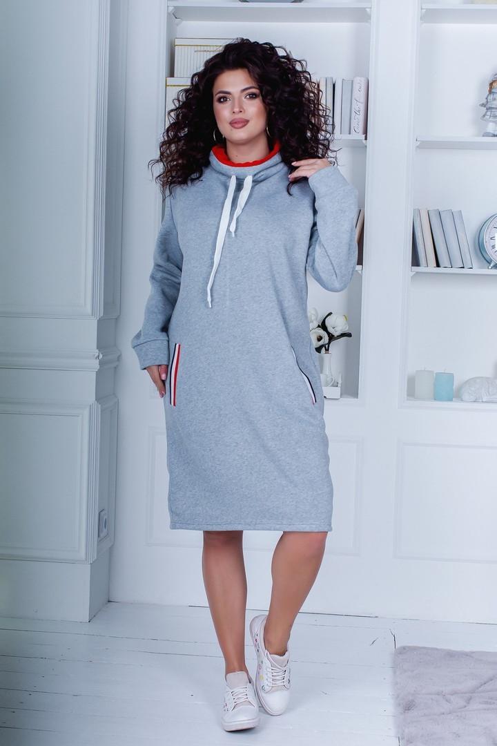 Женское платье батал, турецкая трехнить, р-р 48-50; 52-54 (серый)