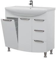 Тумба для ванной комнаты с бельевой корзиной Грация Т17К с умывальником Багама -85