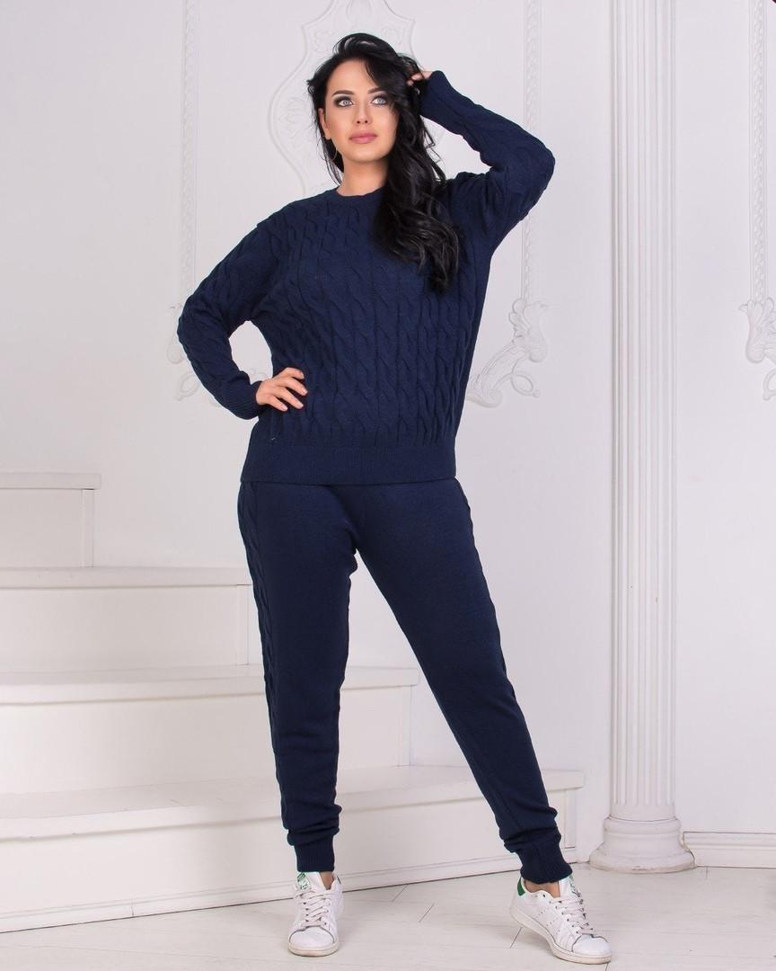 Женский спортивный костюм батал, 70% акрил +30% шерсть, р-р универсальный 48-54 (тёмно-синий)