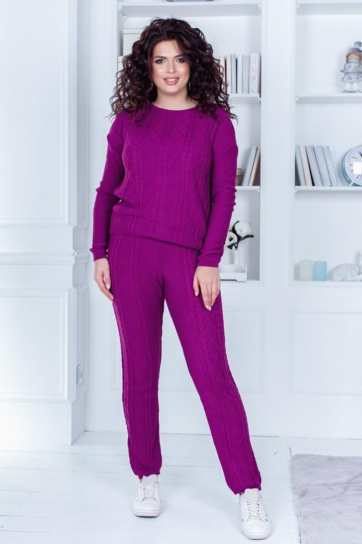 Женский спортивный костюм батал, 50% коттон +50% акрил, р-р универсальный 48-52 (марсала)
