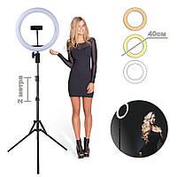 Кольцевая светодиодная лампа диаметр 40см Z2 для съемки с держателем телефона кольцевой свет со штативом 2м, фото 1
