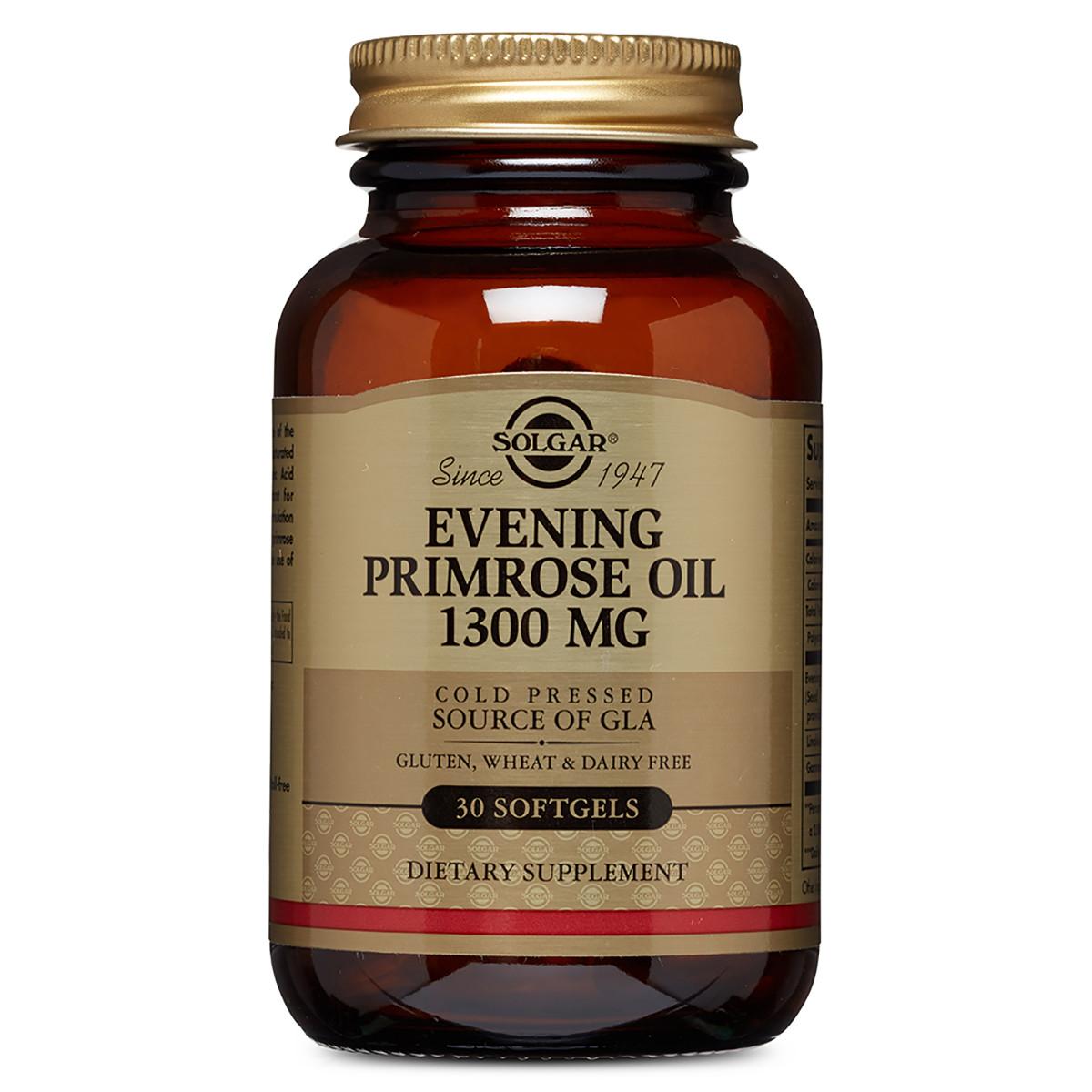 Масло Примулы Вечерней 1300 мг, Evening Primrose Oil, Solgar, 30 желатиновых капсул