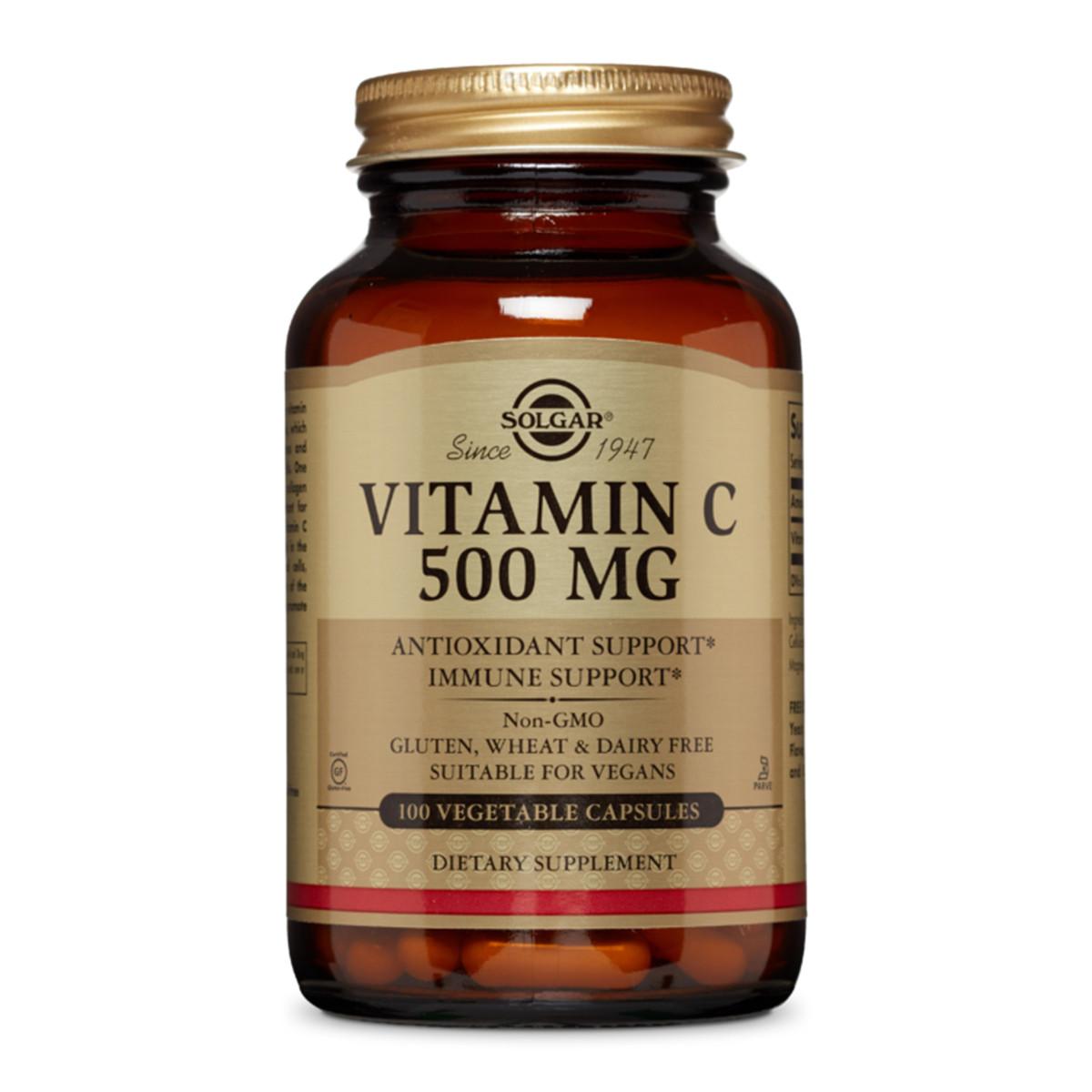 Витамин C, 500 мг, Vitamin C, 500 mg, Solgar, 100 вегетарианских капсул