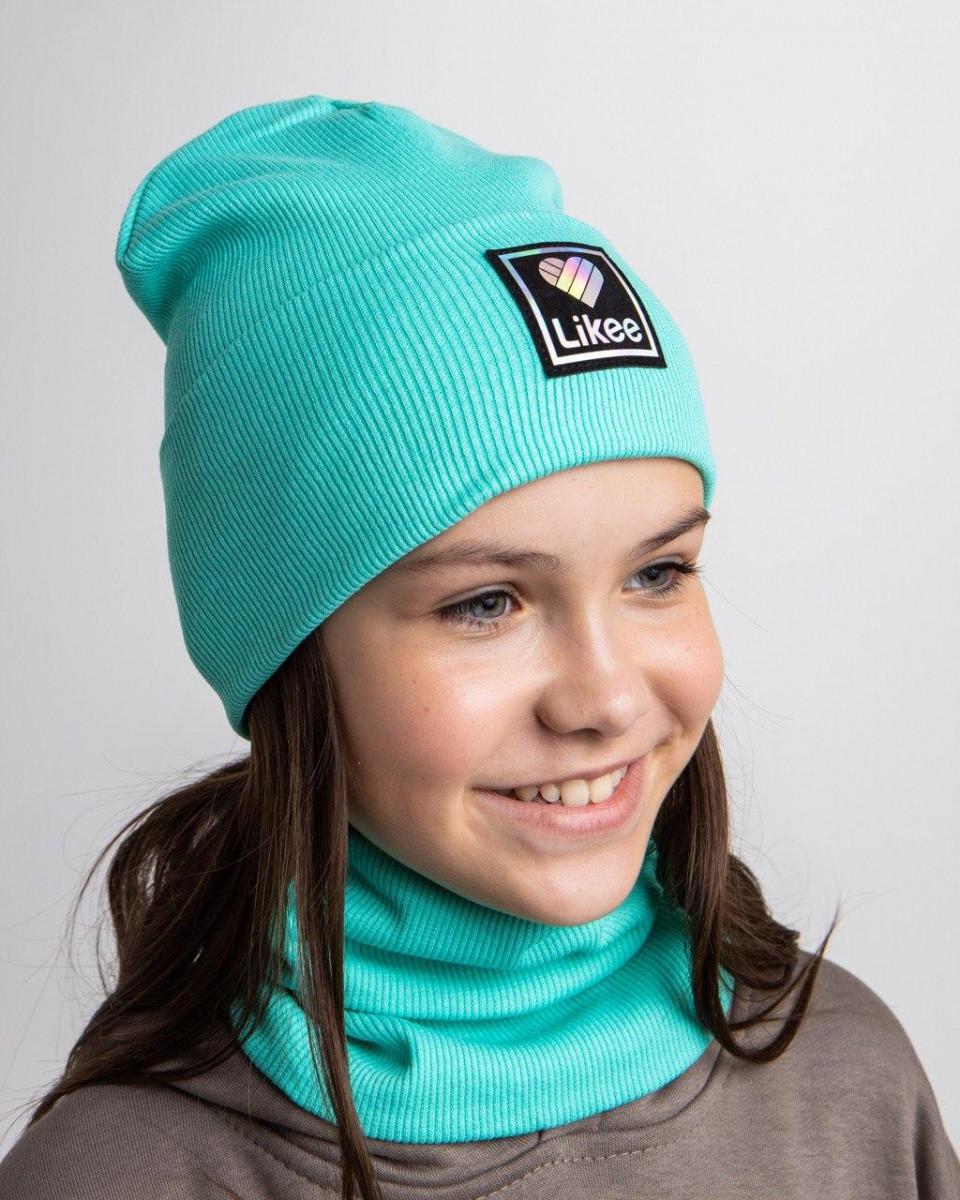 Комплект (шапка хомут) для дівчинки на весну-осінь оптом - Артикул 2694