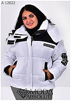 Модная женская зимняя куртка белая на молнии размеры 42-56